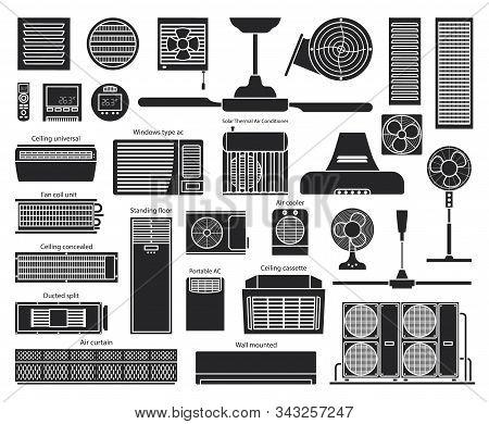 Air Ventilator Black Vector Set Icon.vector Illustration Icon Of Ventilator Equipment.isolated Black