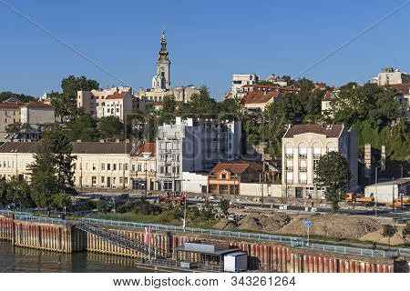 Belgrade, Serbia - August 12, 2019: Panorama From Branko Bridge To Old Town (stari Grad) Of City Of