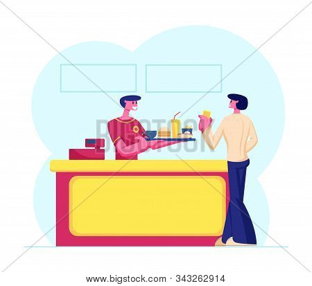 Young Man Customer Buying Fast Food Combo Set At Counter Desk With Friendly Salesman In Uniform Givi