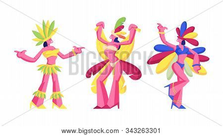 Brazilian Samba Dancers Women Isolated On White Background, Brazilian Culture, Carnival In Rio De Ja