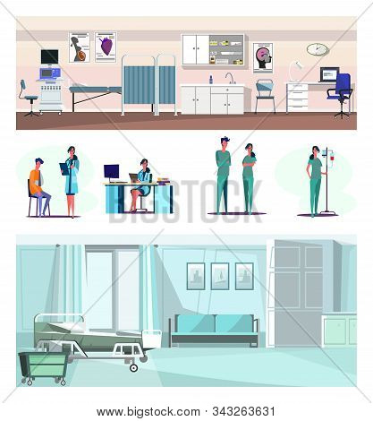 Set Of Confident Lab Worker, Doctor And Nurses. Flat Vector Illustrations Of Medical Staff. Health C