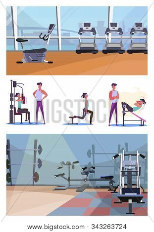 Set Of Sporty Young Woman Training At Gym. Flat Vector Illustrations Of Sportswoman Training With Tr