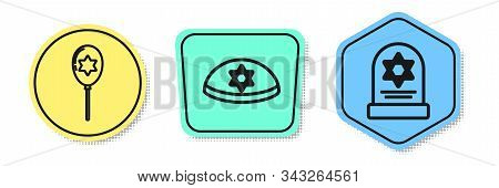 Set Line Balloons With Ribbon With Star Of David, Jewish Kippah With Star Of David And Tombstone Wit