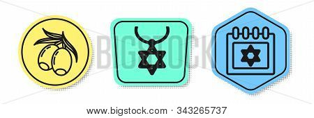 Set Line Olives Branch, Star Of David Necklace On Chain And Jewish Calendar With Star Of David. Colo