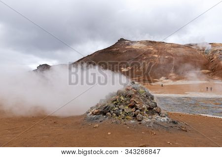 Steaming Fumarole In Geothermal At Namafjall Geyser In Myvatn, Northeast Iceland.