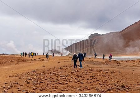 Myvatn, Iceland - Sept 11, 2019: Tourists At Namafjall Geyser,  Its A Geothermal Area Located In Nor