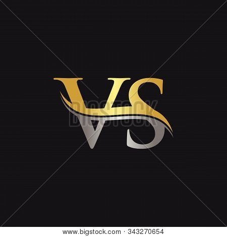 Initial Vs Letter Linked Logo. Creative Letter Vs Logo Vector With Golden And Silver Color. Vs Logo
