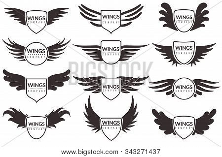 Wings Logo. Winged Emblems, Angel And Phoenix Wings Heraldic Symbols, Sign For Brand, Certificate An