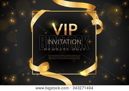 Vip. Luxury Gift Card, Vip Invitation Coupon, Certificate With Gold Text, Exclusive And Elegant Logo