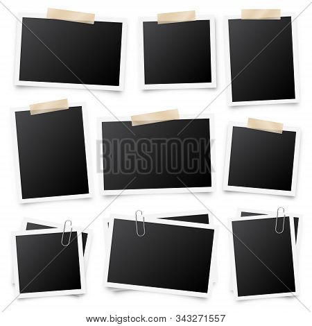 Realistic Blank Photo Card Frame, Film Set. Retro Vintage Photograph With Adhesive Tape And Shadow.