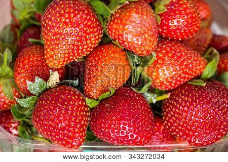 Fresh Ripe Strawberries With Sepals In A Plastic Container, Close Up