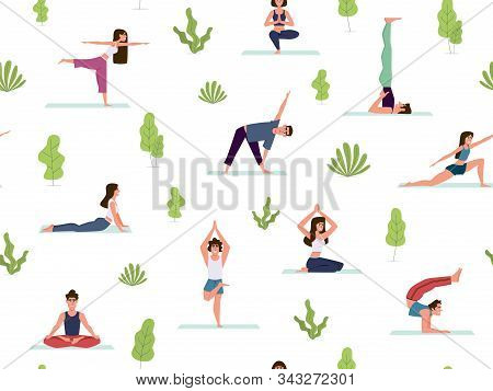 Yoga Seamless Pattern. People Demonstrating Various Yoga Positions Warming Up And Stretching Exercis
