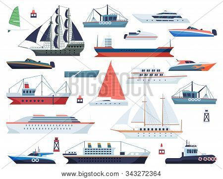 Sea Ships. Fishing Boat And Big Vessel For Ocean Travel On White Background Design Isolated Vector F