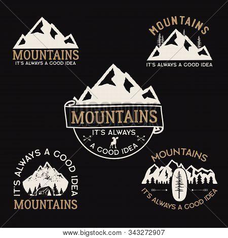 Vintage Camp Logos, Mountain Badges Set. Hand Drawn Labels Designs. Travel Expedition, Wanderlust An