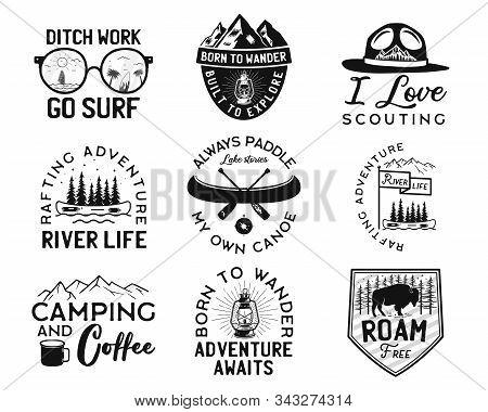 Vintage Camp Logos, Mountain Badges Set. Hand Drawn Labels Designs. Travel Expedition, Canoe, Wander