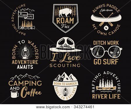 Vintage Camp Logos, Mountain Adventure Badges Set. Hand Drawn Labels Designs. Travel Expedition, Wan