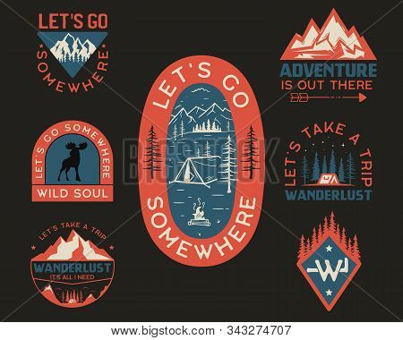 Vintage Camp Logos, Mountain Badges Set. Hand Drawn Labels Designs For T Shirt. Travel Expedition, W