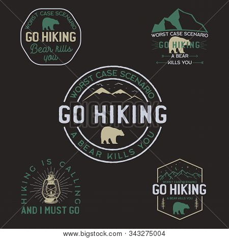 Vintage Hiking Logos, Mountain Adventure Badges Set. Hand Drawn Labels Designs. Travel Expedition, W