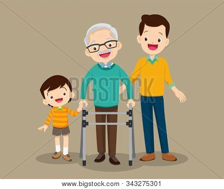 Elderly Walking.grandson And Dad Help Grandfather To Go To The Walker.kids And Dad Caring For The El