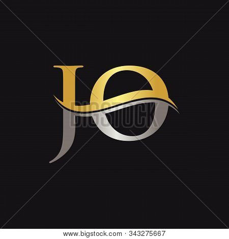 Initial Gold And Silver Letter Jo Logo Design With Black Background. Abstract Letter Jo Logo Design