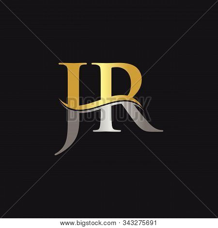 Initial Gold And Silver Letter Jr Logo Design With Black Background. Abstract Letter Jr Logo Design
