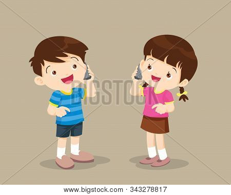 Boy And Girl Talking On The Cell Phone.children  Speaking On The Mobile Phone.