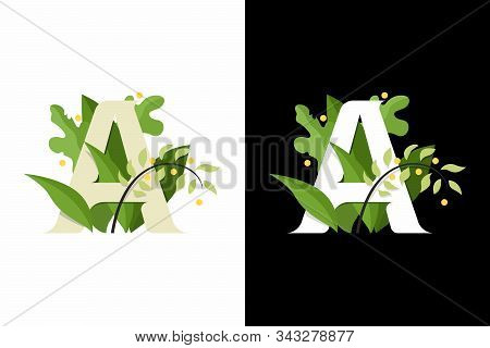 Stylized Letter A. Composition Of The Letter A On The Background Of Leaves And Flowers. Lettering Le