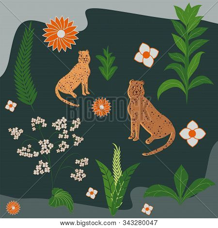 Two Spotted Panthers, Cartoony, Flowers, Leaves - Green Background - Illustration, Vector. Animal Wo