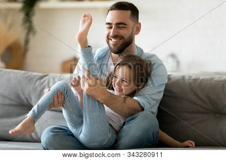 Father Spend Time Enjoy Playtime On Weekend With Little Daughter