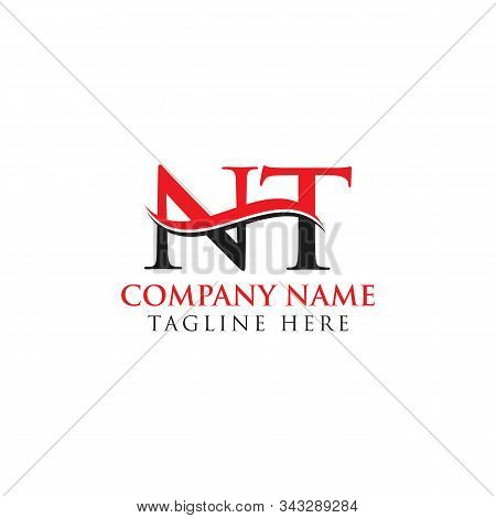 Abstract Letter Nt Logo Design Vector Template. Creative Swoosh Letter Nt Logo Design
