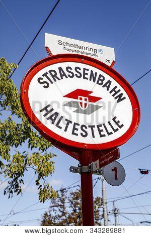 Vienna, Austria  - September 16, 2019: Logo Of Wiener Linien On A Local Tram Stop (strassenbahn Halt