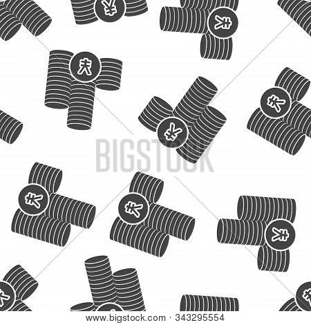 Icon Of Yen Currency. Yen Money. Symbol Of Japanese Currency Seamless Pattern On A White Background.