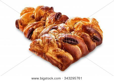 Maple And Pecan Plait Danish Pastry On A White Isolated Background