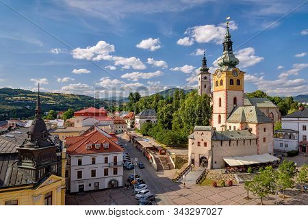 Banska Bystrica, Slovakia - July 08, 2019 - Middle-age Castle Barbican In Banska Bystrica, Slovakia.