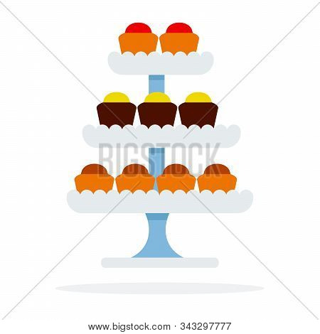 Cakes On Tiered Platter Vector Flat Isolated