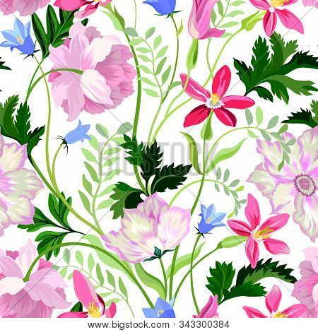 Floral Seamless Pattern. Beautiful Spring Summer Background With Tropical Garden Flowers, Palm Leave