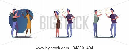 Collection Of Quarrelling Couples And Friends. Flat Vector Illustrations Of Relationship Problem Wit