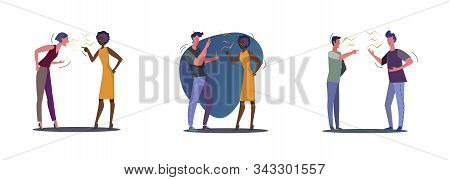 Set Of Angry People Quarrelling. Flat Vector Illustrations Of People Arguing. Quarrel Concept For Ba
