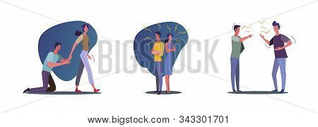 Set Of Problems With Unhappy Couples. Flat Vector Illustrations Of People Breaking Up, Quarreling. Q