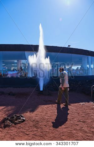 Lanzarote, Canary Islands - December 28, 2019: Geyser Of Steam In Timanfaya National Park Lanzarote