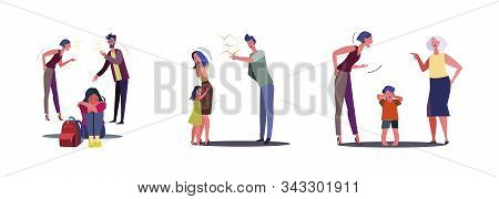 Set Of Angry Families Quarrelling. Flat Vector Illustrations Of Family Conflicts. Quarrel Concept Fo