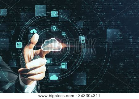 Hand Using Creative Glowing Cloud Email Map Hologram. Cloud Computing  Interactive Hud Concept.