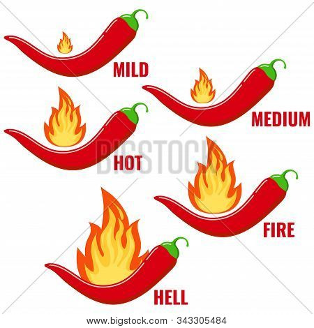 Red Chilli Pepper In Fire Flame Icon Vector Set Isolated On White Background. Flat Design Cartoon St