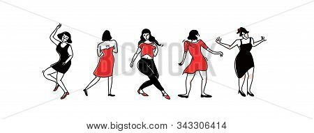 Group Of Dancing Girls And Women In Party Dresses. Lady Solo Dance At Club, Female Characters Having