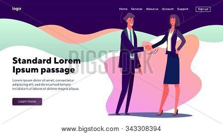 Business Man And Woman Shaking Hands. Office People Coming To Terms Flat Vector Illustration. Agreem