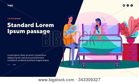 Couple Looking At Newborn Child In Maternity Ward. Parents In Maternity Hospital Flat Vector Illustr