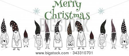 Merry Christmas Letters, Seasons Greetings , Cute Nordic  Gnomes In Hand - Drawn Scandinavian Hats.