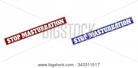 Rectangle Stop Masturbation Watermarks. Blue And Red Grunge Watermarks With Stop Masturbation Text I