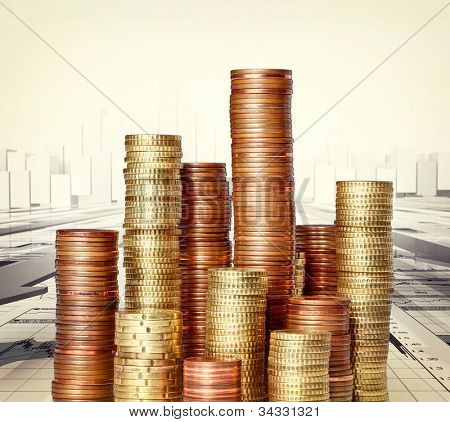 image of coin piles and 3d stat background