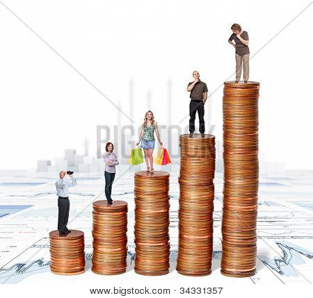 euro coin piles and 3d background with business people